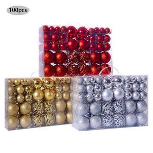 100Pcs Set Christmas Ball Gift Box Christmas Tree Ornament Golden Glitter Ball Home Garden Decorations New Year 2021