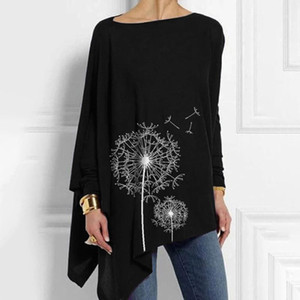 5XL plus Größe Frauen Tunika Bluse Europäische und amerikanische gedruckte Rundhalskleidung Unregelmäßige langärmelige casual top blusas1