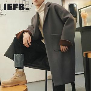 IEFB / Moda Uomo caldo di spessore miscela cappotto di lana del soprabito di inverno di autunno allentato lungo cappotto color block patchwork oversize