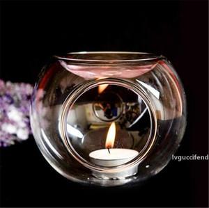 3 size crystal glass candle holder home essential fragrance oil heating incense burner glass ball tea light handmade candle holder romantic