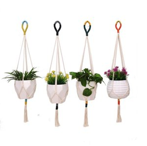 Colorblock Plant Hanger Macrame Wall Hanging Plant Basket Cotton Rope Flower Pot Holder Indoor Outdoor Balcony Decoration Wall Art SN2230