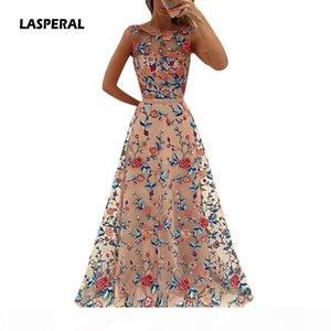 LASPERAL 2017 Floral Embroidery Long Maxi Dress Party Dress Bride Banquet Elegant Floor-length Party Prom Vestidos Formal