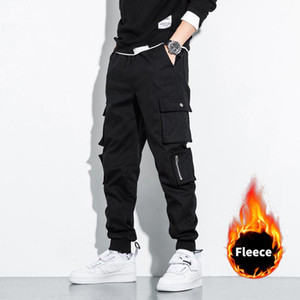2020 New Fashion Winter Thick Fleece Warm Casual Pants Men Streetwear Multi-Pockets Cargo Jogger Pants