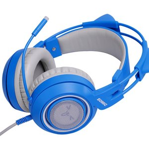 G952S BLUE Girl Cat Ear Gaming Headphone 3.5mm Plug Cute Headset for PC PS4 Phone Pad Girl and Boy Kids Gaming Headset