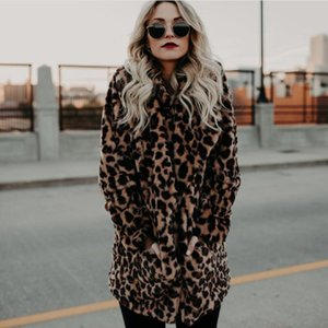 Winter Leopard Print Faux Fur Coat with Pockets Cheap Stock Mid Length Women Warm Outfit Size S to 3XL Free Shipping