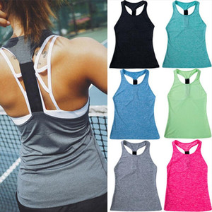 Fashion Women Sexy Backless Sleeveless Vest Workout Sports Tank Top Gym Fitness Solid Color Tank Tops 7Colors New Vestidos