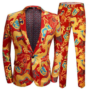 New Chinese Style Red Dragon Print Suit Men Stage Singer Wear 2 Pieces Set Slim Fit Wedding Tuxedo Costume Ball party1