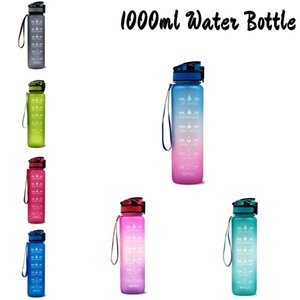 Leakproof Water Bottles with Straw Lid BPA Free Motivational Sports Water Tracker for Outdoor Excercise free fast sea shipping AHD2336