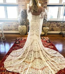 2021 Vintage Lace Boho Wedding Dresses Sweetheart Mermaid Bridal Gowns Unique Detachable Sleeves Backless Bohemia Vestido De Noiva AL7372