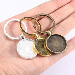 5pcs lot with Pendant Bezel Blank Fit 25mm Cameo Glass Cabochon Base Setting Diy Keychain Key Ring Supplies for Jewelry