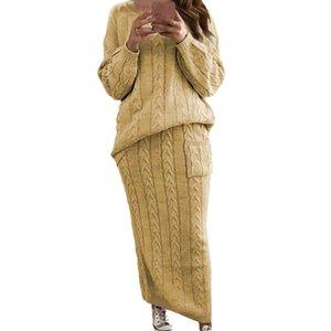 Женщины свитер из двух частей платье с экипажем шеи с длинным рукавом свитер карманные прямые платья женская твердая одежда