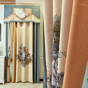 Custom curtains New jacquard single flower cashmere seamless stitching beige cloth blackout curtain valance tulle panel C1431