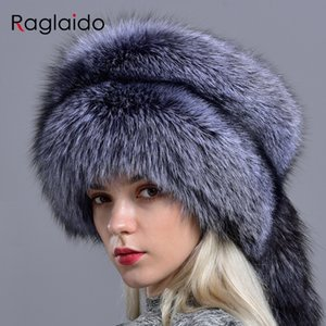 Raglaido real fox fur hats for women winter fashionable stylish Russian thick warm beanie hat natural fluffy fur hat with tail 201009