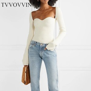 Korea White Side Split Knitted Women's Sweater Square Collar Long Sleeve Asymmetric Sweaters Female Fashion New Clothes W096 201006