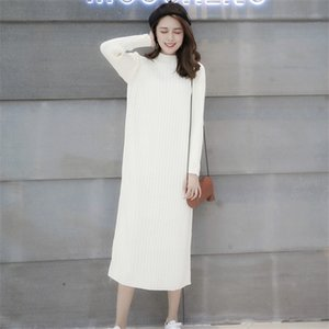 Eleganter Herbst-Winter-warme gestrickte Frauen-Korea-lose Pullover Kleider Damen Halbrollkragen stricken Mid-Kleid weiblich C1009