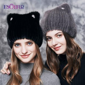 ENJOYFUR Natural Hats For Women Cute Cat Ear Thick Winter Hat Female Fashion Fur With Rhinestones Knitted Beanies