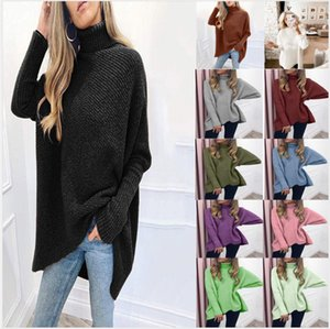 Autumn And Winter New Sweater Versatile Bat Sleeve Medium Length Loose Pullover Sweater Women High Collar Solid Color Sweater
