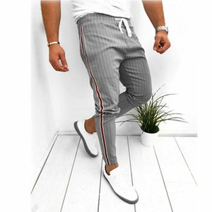 Men Summer Casual Long Pants Sport Gym Slim Fit Running Joggers Stripe Long Trousers Sweatpants 2020 New