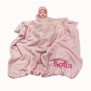 Name Personalised Newborn Baby Blanket Swaddling Baby Gift Bedding Set Swaddle Berber Bubble Toddler Crib Bed Stroller Blanket 201022