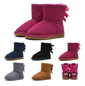HOT SALE Kinder Bailey 2 Bögen Boots echtes Leder Kleinkinder Schnee-Aufladungen Fest Botas De nieve Winter-Mädchen Schuhe Kleinkind-Mädchen Stiefel 06