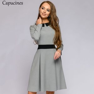 Capucines Ladies Fashion Splicing Sashes Autumn Dress Women Casual Peter pan Collar Long Sleeve A-Line Mini Party Dresses femmeA1110