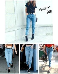 1886 Youaxon 100% Cotton Vintage High Waist Mom Jeans Women`s Blue Black Denim Pants Boyfriend Jean Femme For Women Jeans 201020