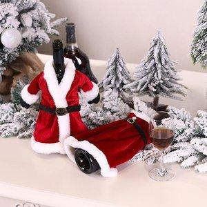 Merry Christmas Elbise Etek Şarap Şişesi Kapak Yeni Yıl Xmas Süslemeleri Ev Dekorasyonu için Navidad Hediyeler Çanta HWC2970