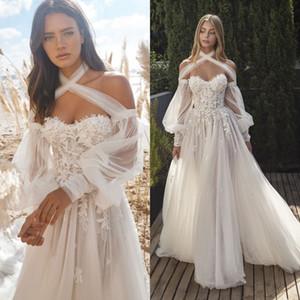 Designer A Line Wedding Dresses Halter Sleeveless Soft Tulle Lace Applique Bridal Gowns Floor Train Vestidos De Novia