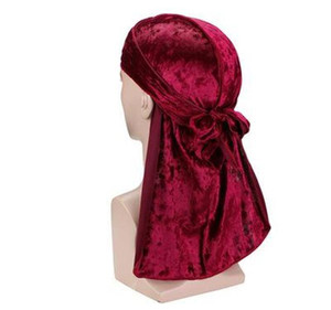 Fashion Designer Durag Velvet Men Satin Durags Bandana Turban Wigs Me Durag Long-tail Pirate Hat Headband Pirate Ha wmtmOT dayupshop