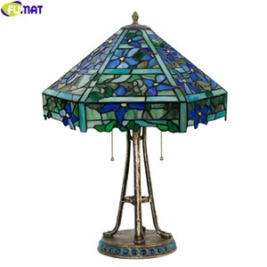 FUMAT Stained Glass Blue Orchid Red Cherry Tiffany Styel Lampshade Table Lamp Alloy Tree Jade Frame Home Decortive Table Lights