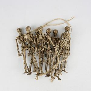 8pcs Interesting Skeleton Christmas Prop Plastic Lifelike Human Bones Skull Figurine for Horror Halloween Party Decoration 201017