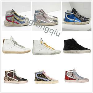 إيطاليا deluxe ماركة francy ستار عالية الحذاء الذهبي حذاء الكلاسيكية بريق do-قديم القذرة أوزة مصمم رجل المرأة عارضة الأحذية أفضل جودة
