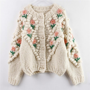 ZITY New Women Winter Handmade Sweater And Cardigans Floral Embroidery Hollow Out Chic Knit Jacket Pearl Beading Cardigans 201030