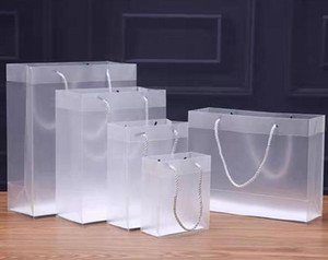 Frosted PVC plastic gift bags with handles waterproof transparent PVC bag clear handbag party favors bag custom logo