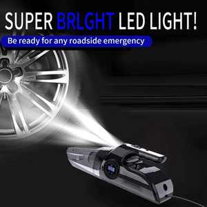 NEW-4-In-1 Car Handheld Vacuum Cleaner with Digital Tire Inflator Pump Pressure Gauge LED Light Car Vacuum Cleaner
