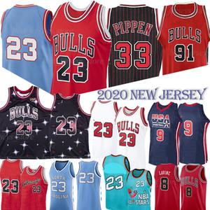 NCAA Scottie Pippen 33 MJ 23 Michael Bull Jersey Dennis Rodman 91 Basketball Jersey 2020 University College MJ Retro Mesh hommes Jersey
