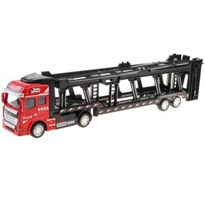 1 50 Scale Alloy Push Car Transport Truck Model Toy with Pull Back Function, For Boys & Girls, Collectible