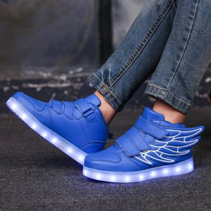 7ipupas nouvelles chaussures de charge USB 25-35 chaussures lumineuses aile chaussures LED de la tendance de la mode 7 couleurs lumineuses baskets 201009