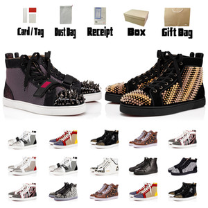 Top inferiore rossa di cuoio di lusso piatto Soled pattini casuali Moda Nero Bianco Pink Party-oro paio scarpe da sera con box Uomo Stivali Booties