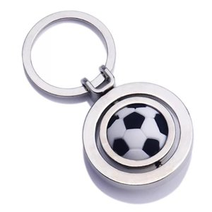 FREE SHIPPING BY DHL 50pcs lot New Hot Spinning Football Key Chains Metal Swirling Soccer Keyrings for Gifts