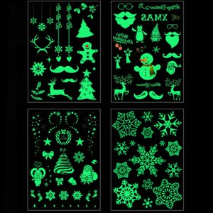 Christmas Luminous Tattoo Santa Snowflake Waterproof Glow Tattoo Sticker for Kids Xmas Gifts Christmas Navidad Natal Decorations
