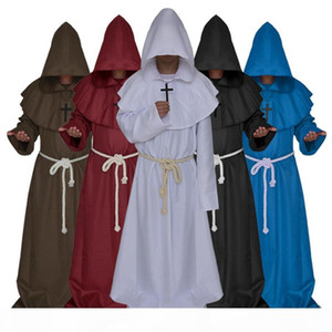 Plus size cosplay costumes men halloween medieval gown costume monk serviceman robe witches church priest Christian costumes suit wholesale