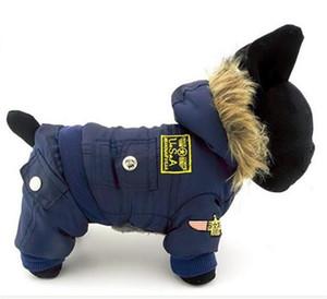 Hooded Jumpsuit Waterproof Small Dog Apparel Airman Fleece Winter Coat Snowsuit Outdoor Dog Cat Parka Jacket Cloth Drop Shipping