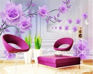 Beibehang Custom Photo Wallpaper Purple rose reflection Silk Background Modern Simple Romantic Living Room Bedroom 3D wallpaper