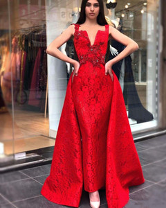 Aso Ebi Arabic Red Evening Dresses With Detachable Skirt Spaghetti Beaded Crystals Lace Prom Dresses Vintage Formal Party robes de soiree