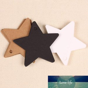 Wholesale- 100Pcs Star Kraft Paper Label Wedding Christmas Halloween Party Favor Price Gift Card Luggage Tags White Black Brown 3 Colors