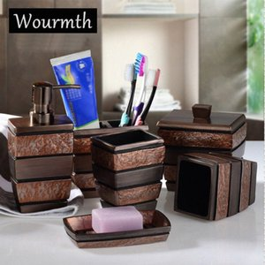 Wourmth European Resin Bathroom Accessories Set Bathroom Sanitary Ware Bath Set Toothbrushes Cup Holder Soap Dish Gifts 6pcs set ixwP#
