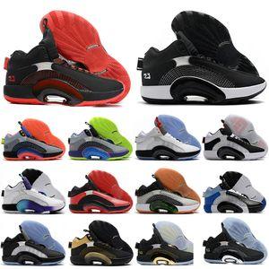 Air Jordan 35 XXXV Centro de Gravidade da albufeira Meninos DNA Homens tênis de basquete do esporte da sapatilha Fragmento x 35 Jumpman desportivo Azul Sliver instrutor Preto