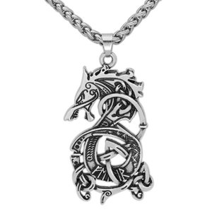 Nordic Viking Dragon Odin Symbol Pendant Necklace Vintage Long Sweater Chain Tide Men and Women Jewelry