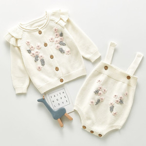 New Spring Autumn Infant Baby Girls Knit Long Sleeve Flower Coat + Braces Rompers Clothing Sets Kids Girl Suit Clothes 0-3Yrs 201118